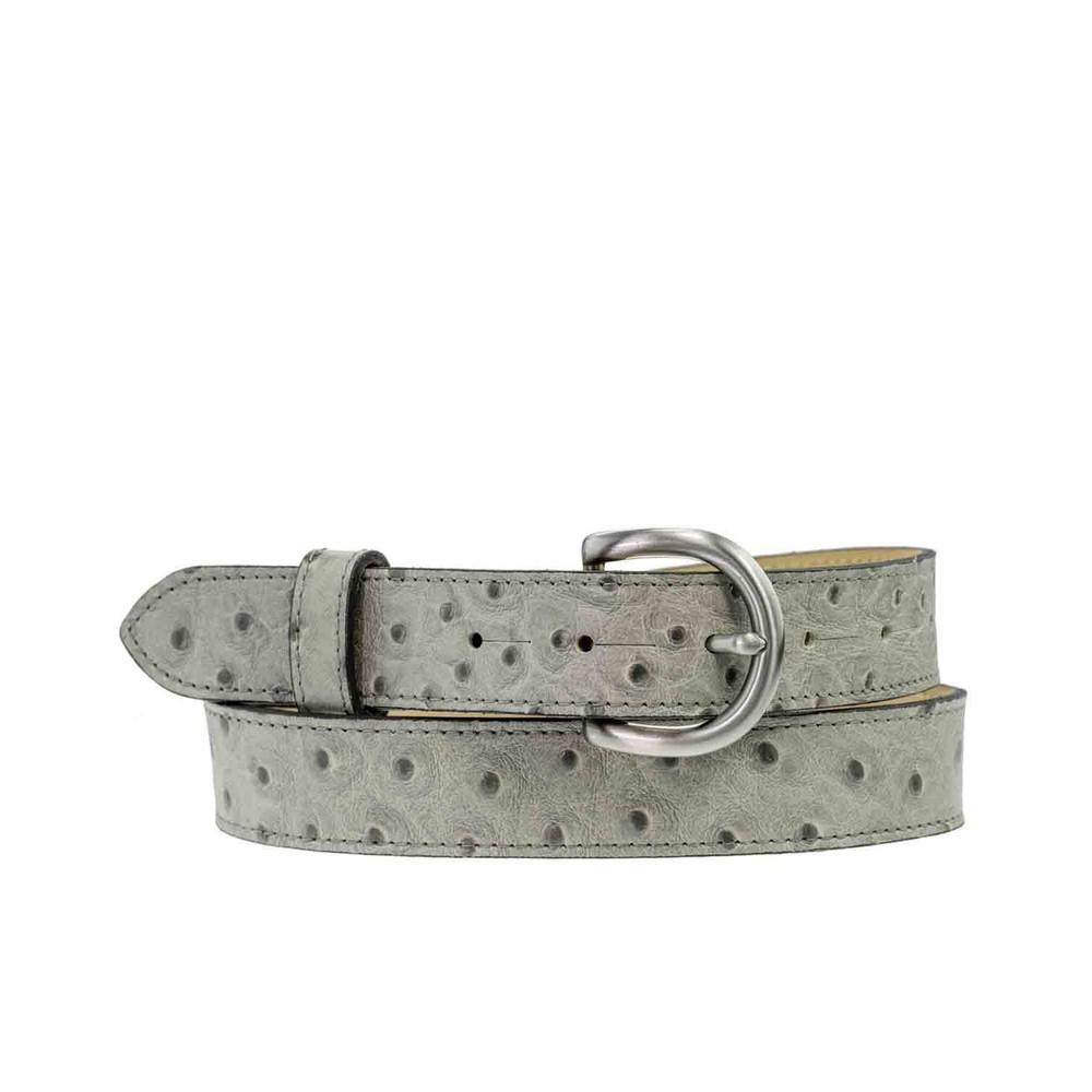Peachy Belts Ostrich Print Leather Belt Grey