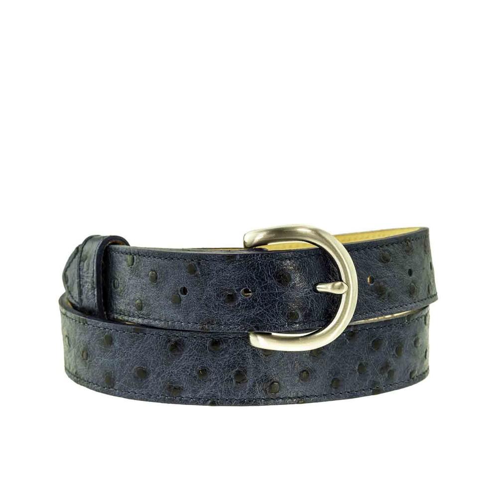 Peachy Belts Ostrich Print Leather Belt Navy