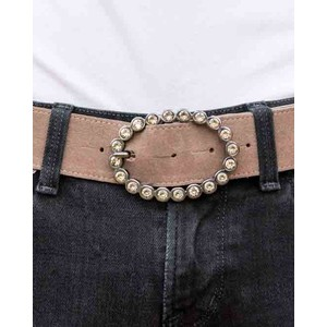Peachy Belts Brindle Oval Dimante Buckle Smokey Quartz