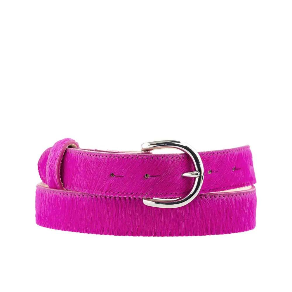 Peachy Belts Pink Cowhide Belt Pink