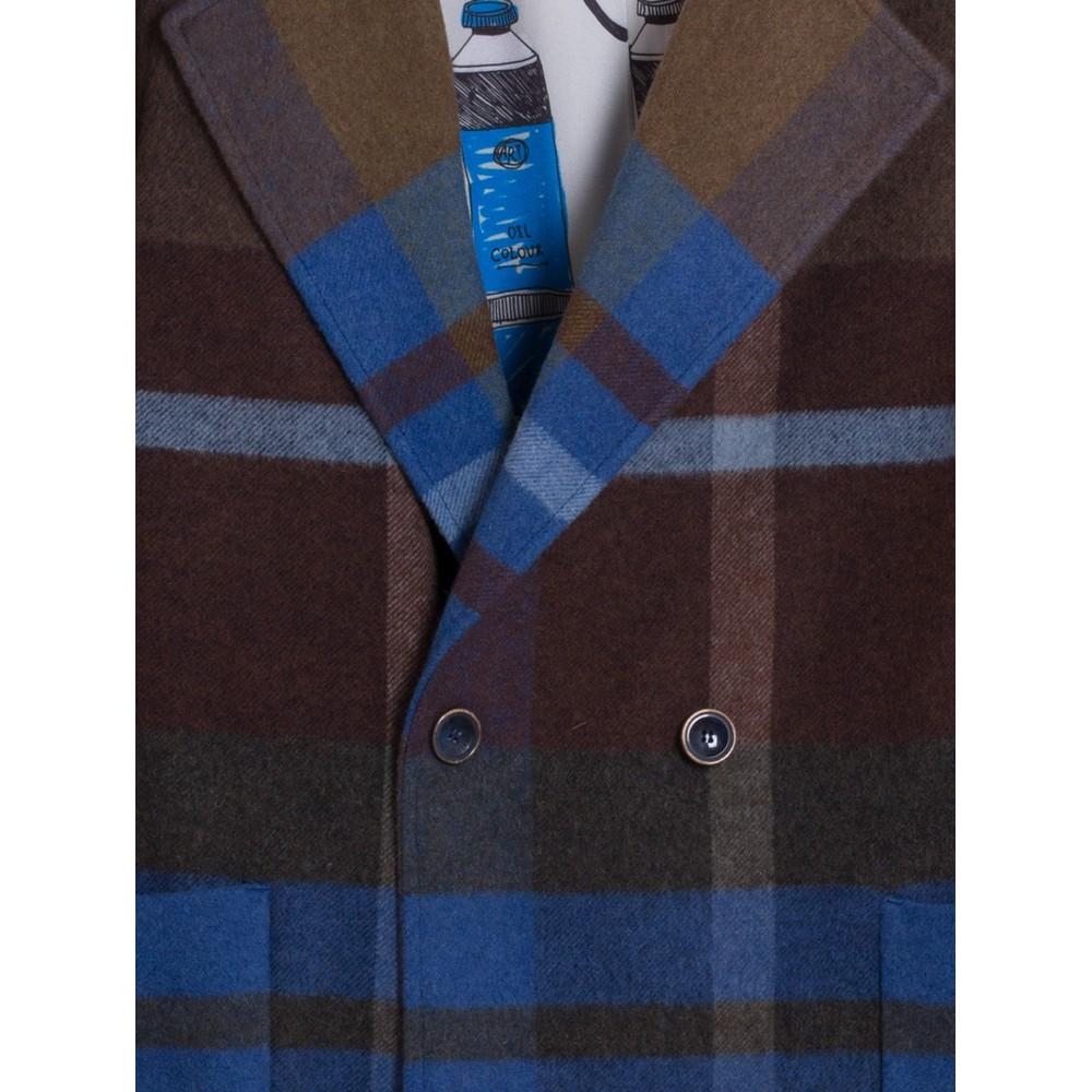 Vilagallo Eloise Check Long Coat Blue/Green/Multi