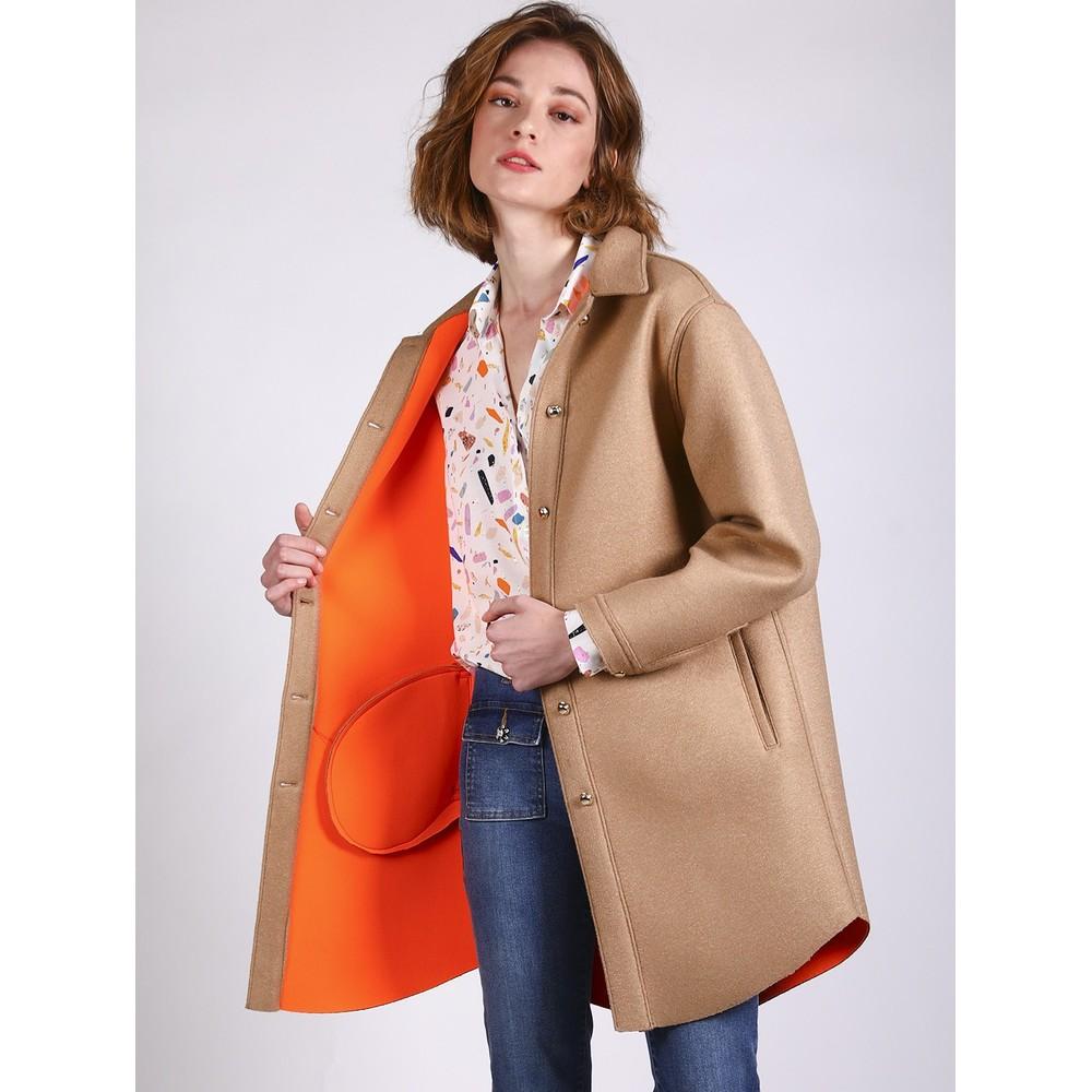 Vilagallo Gaila Curve Hem Coat Camel/Orange