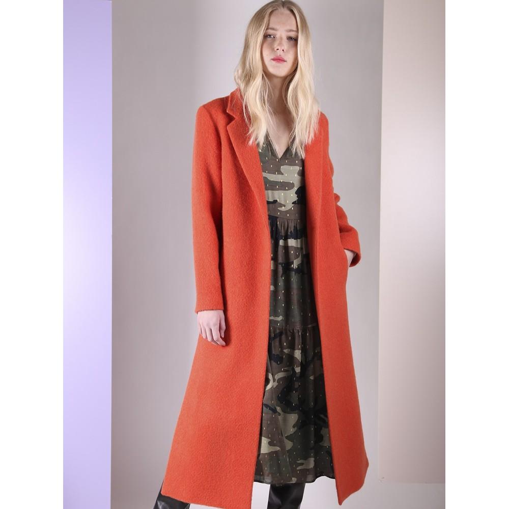 Vilagallo Alex Wool Long Coat Orange