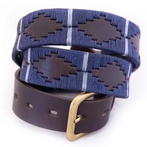 Polo Belt Navy/silver/grey stripe