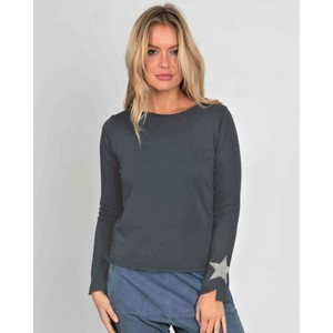 Suzy D Jersey Long Sleeve Tee With Star in Dark Grey