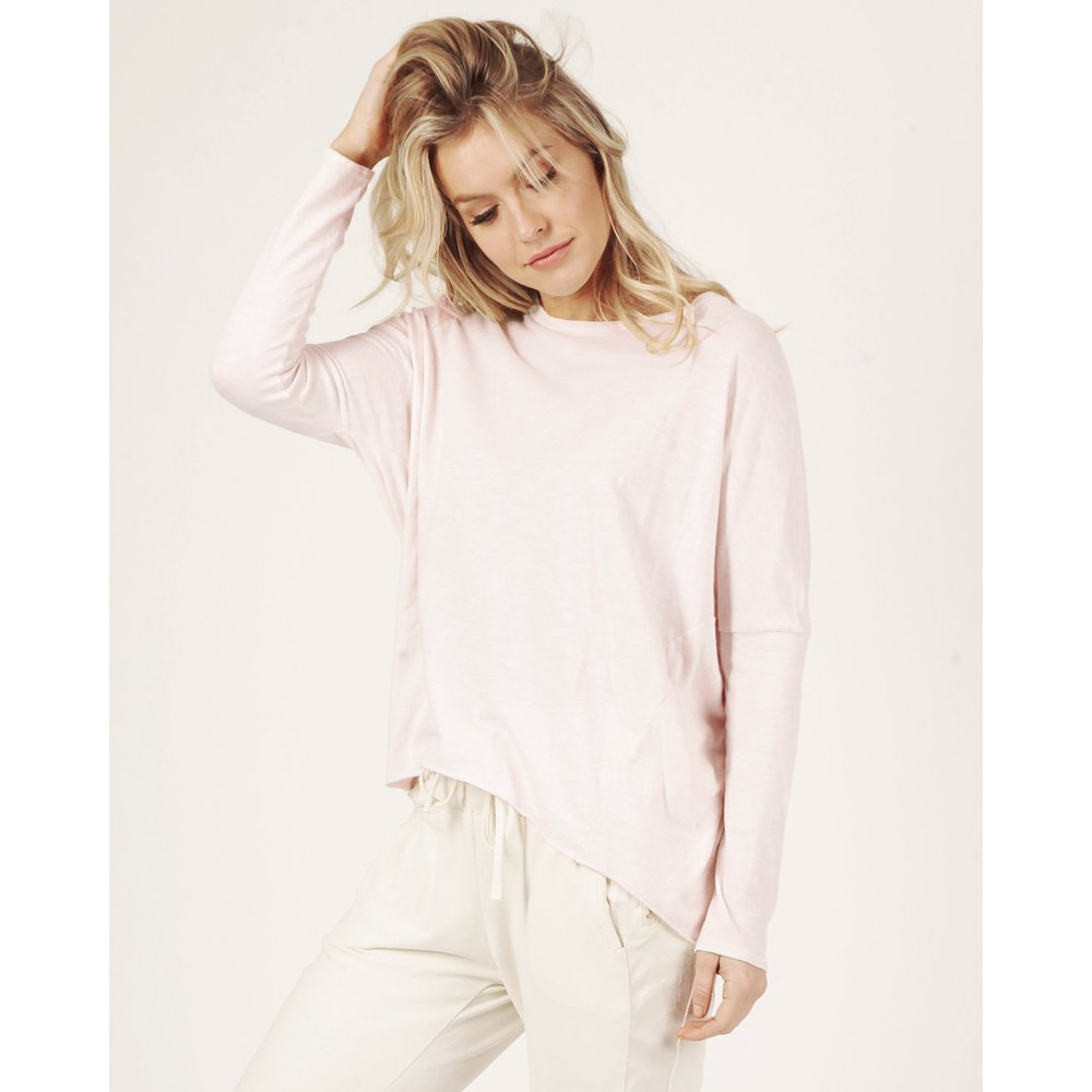 Suzy D Hi Lo Cotton Jersey Top Soft Pink