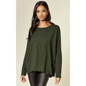 Suzy D Hi Lo Cotton Jersey Top in Olive