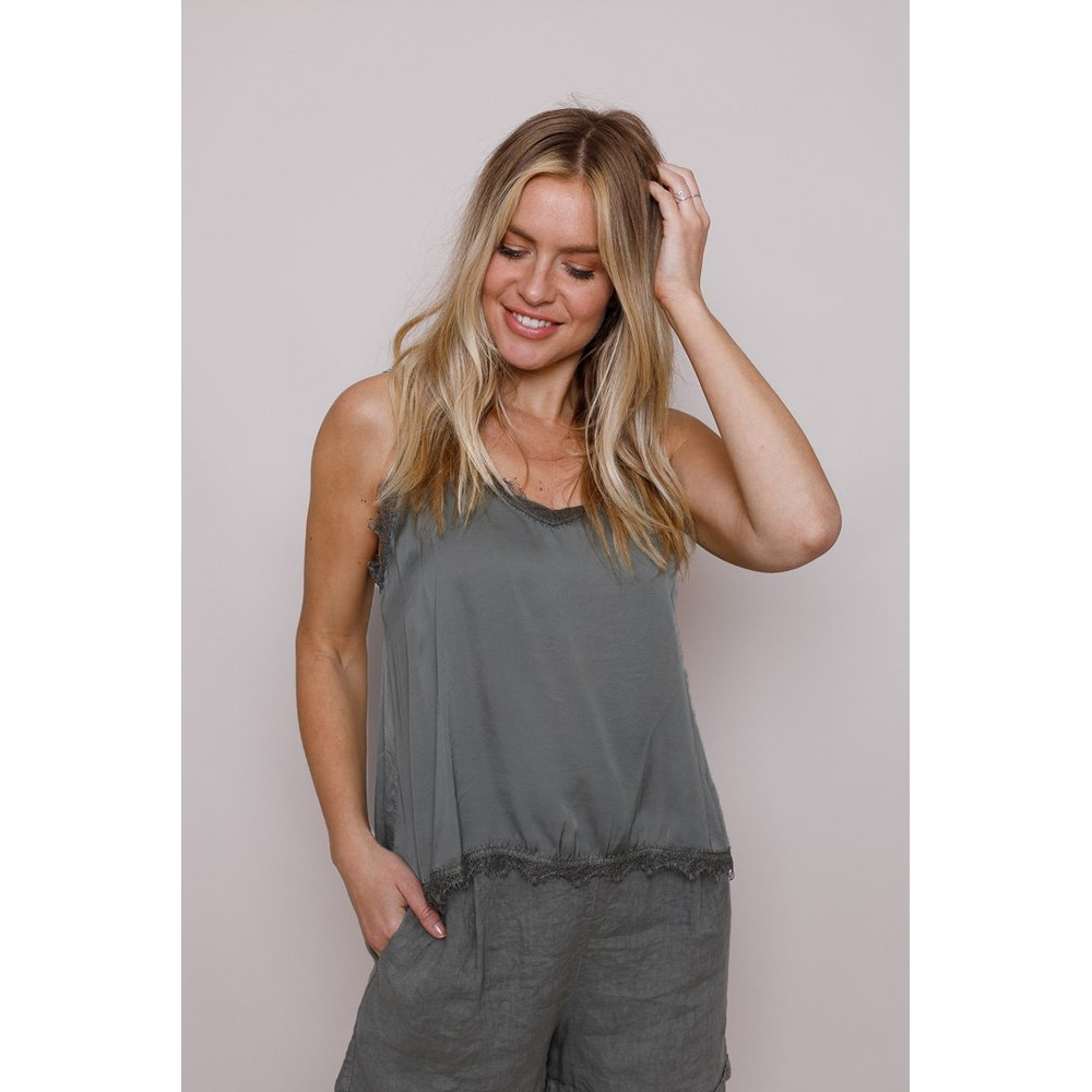Suzy D Lace Trim Camisole Dark Grey