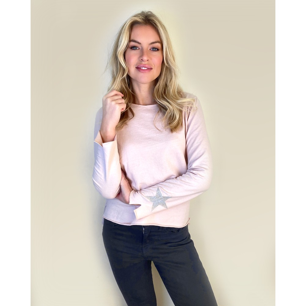 Suzy D Jersey Long Sleeve Tee With Star Soft Pink