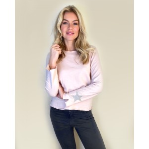 Suzy D Jersey Long Sleeve Tee With Star in Soft Pink