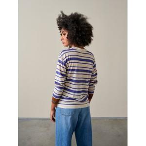 Bellerose Senia Stripe Long Sleeve Linen Top Nude/Purple