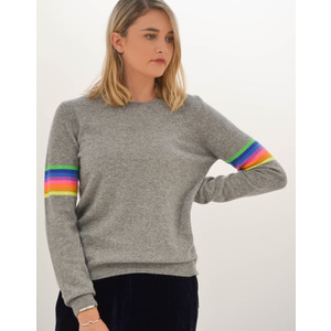 Mexican Stripe Arm Knitted Jumper Marl Grey