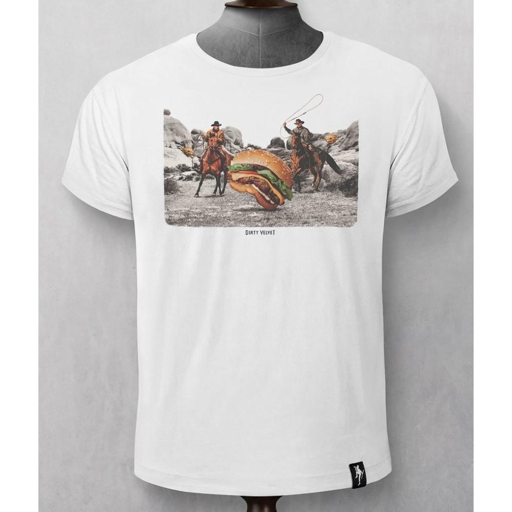 Dirty Velvet Burger Herders T Shirt White