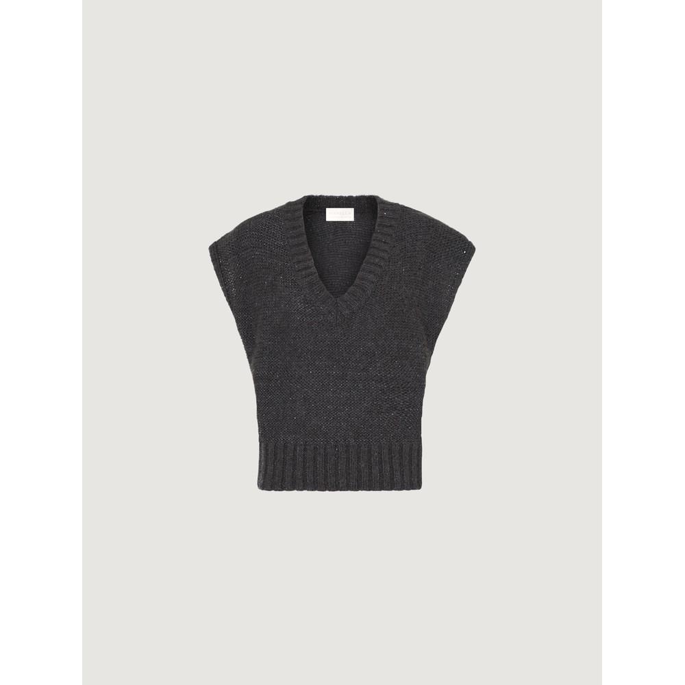 Marella Desio V Neck Boxy Knit Vest Charcoal/Sparkle