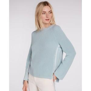 Ribbed Stripe Side Zip Knit Light Blue/White