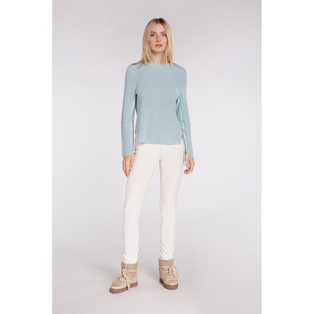Oui Ribbed Stripe Side Zip Knit Light Blue/White