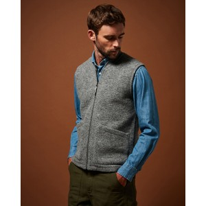 Knitted Vest With Pockets Grey