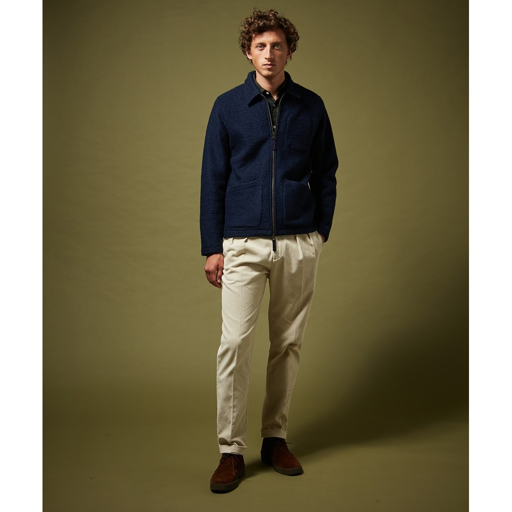 Hartford Knitted Jacket W-Front Pockets Navy