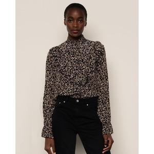 Layla Ruffle Cuff Blouse  Floral Leopard Black