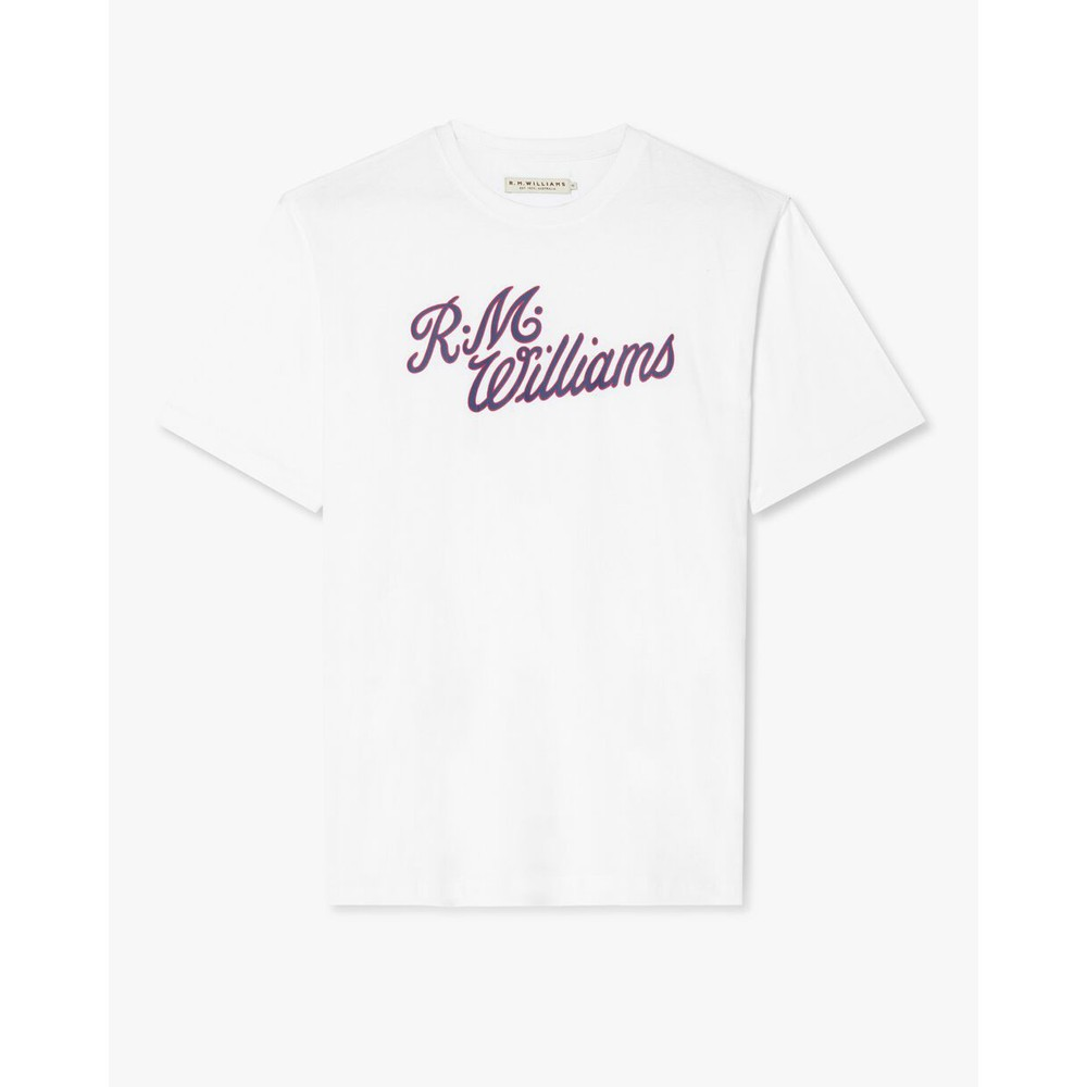 R.M.Williams R.M.W Script T-Shirt White/Navy/Red
