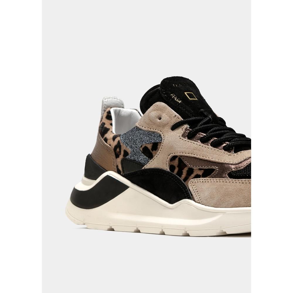 D.A.T.E Fuga Animalier/ Leopard Trainer Beige/Black/Bronze Leopard