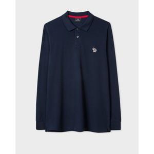 Long Sleeve Zebra Polo Shirt Navy