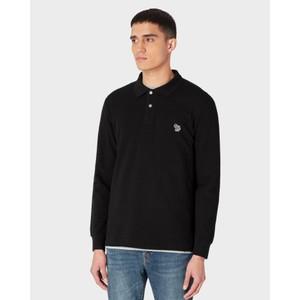Long Sleeve Zebra Polo Shirt Black