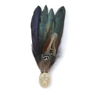 Feather Brooch-Gold Pin Gamebird