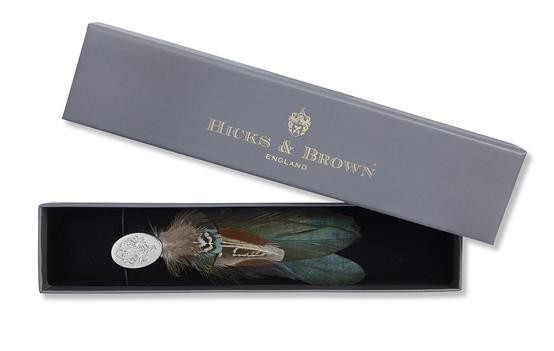Hicks & Brown Feather Brooch-Silver Pin Guinea and Pheasant