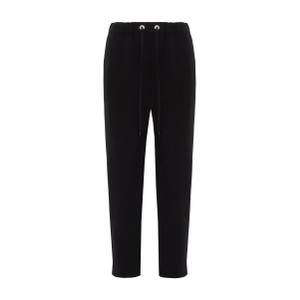 Cream Drawstring Tapered Trousers Black