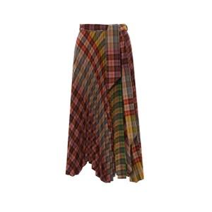 Botany Wrap Check Pleat Skirt Multicolour