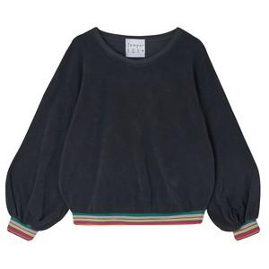 Terry Stripe Hem Sweater Charcoal/Multi