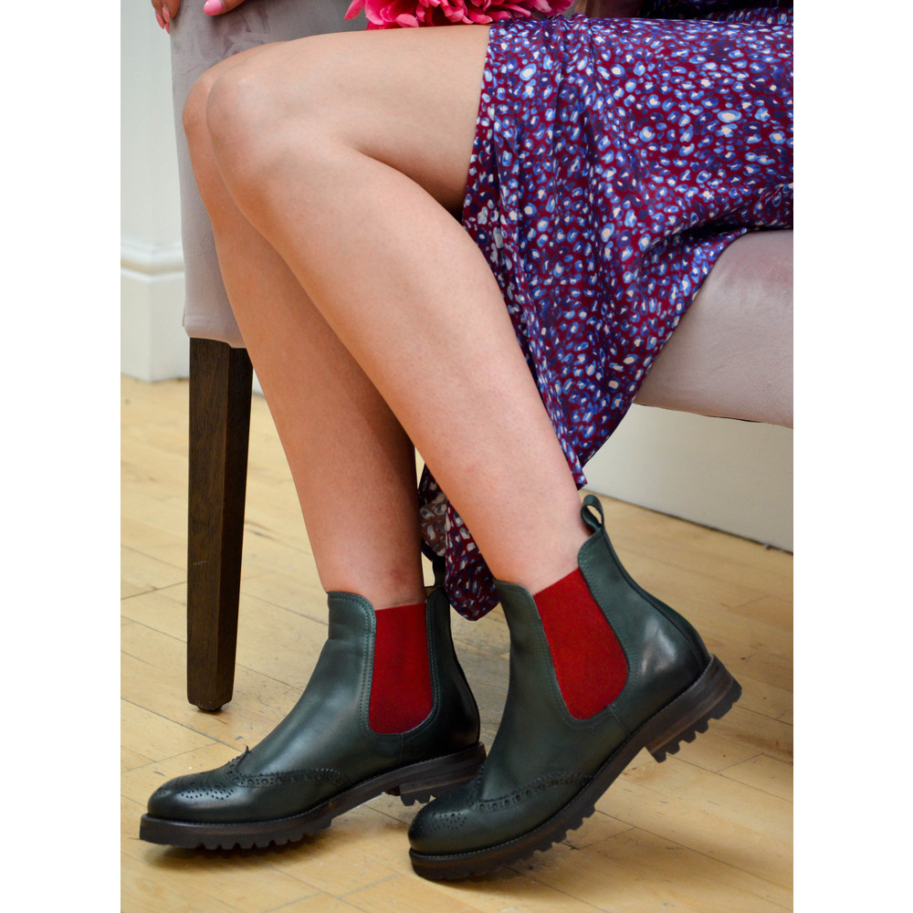 Calpierre Brogue Ankle Boot with Contrast Sides Green/Red