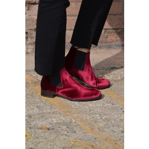 Velvet Ankle Boot with Stretch Sides Red