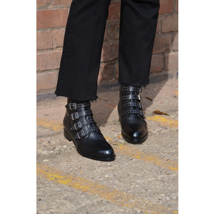 Studded Buckle Boot Black