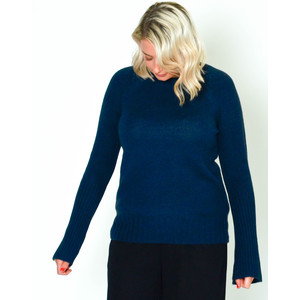 360 Sweater Maikee Scoop Nk Knit Navy