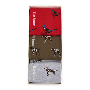 Barbour Animal Mix Sock Select 3 Pack Red/Olivie/Grey