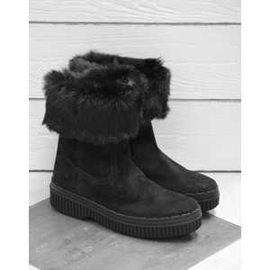 Fur Lined Boot Pull On Black