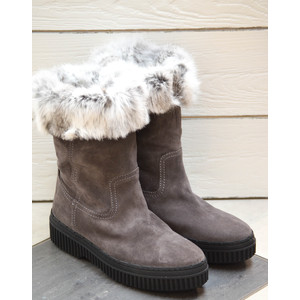 Fur Lined Boot Pull On Grey