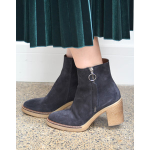 Side Zip Heeled Boot Textured Sole Navy