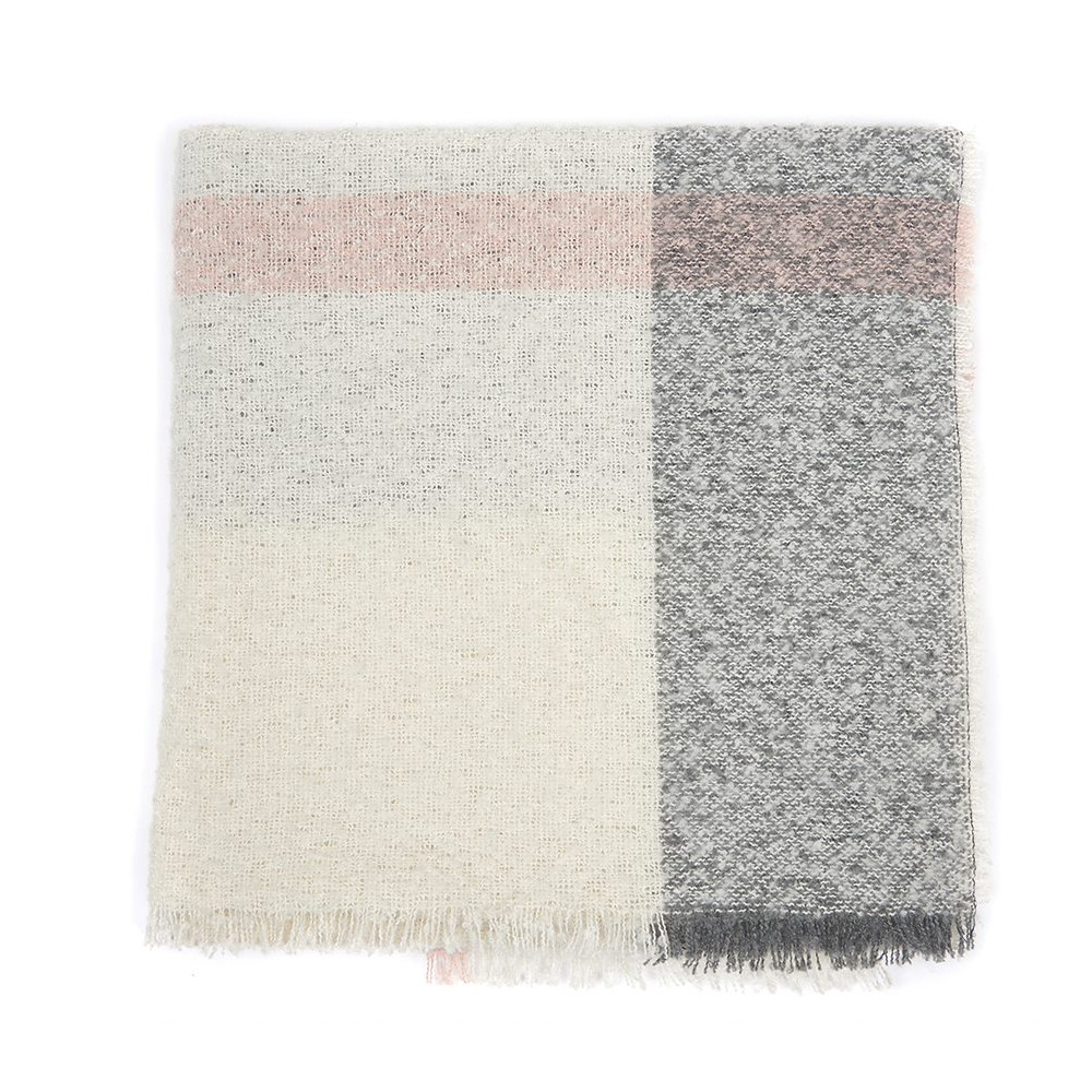 Barbour Plaid Boucle Wrap Ecru/Pink/Grey