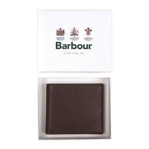 Barbour Billfold Wallet Smooth Leather Dark Brown