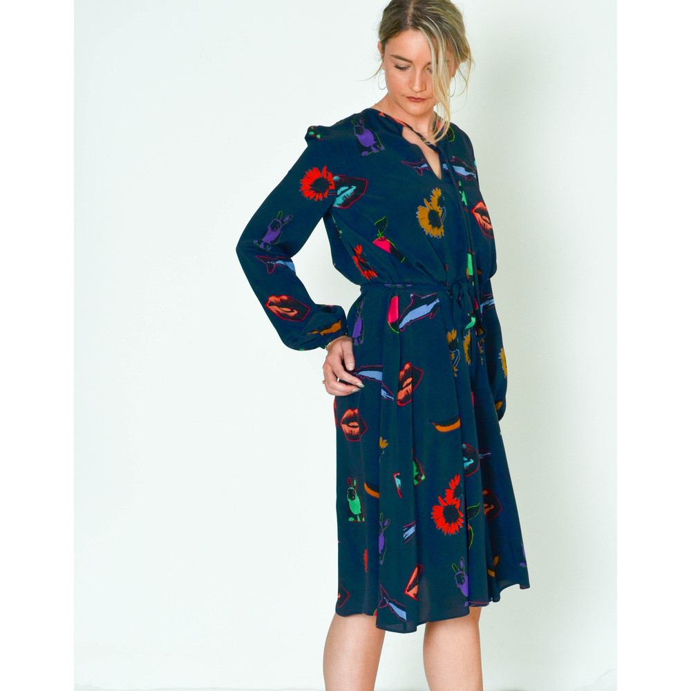 Paul Smith Womens Artful Lives Long Sleeve Dress Navy/Multi