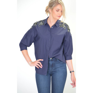 Retals Embroidered Oversized Shirt China Ink