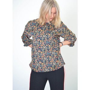 Radioactive Floral Top with Elastic Cuff Black/Multi