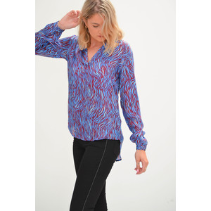 Sandy Open Neck Shirt Blue Zebra
