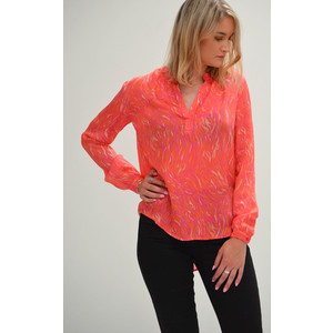Sandy Open Neck Shirt Pink Zebra