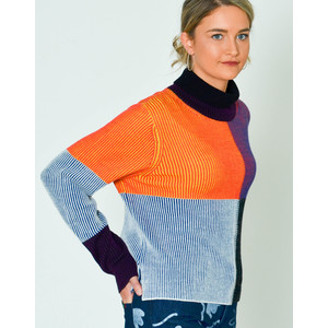 Funnel Neck Colour Block Knit Jumper Aubergine