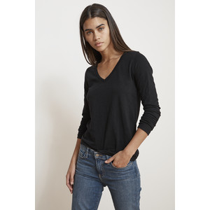 Blaire V-Neck Long Sleeve Top Black