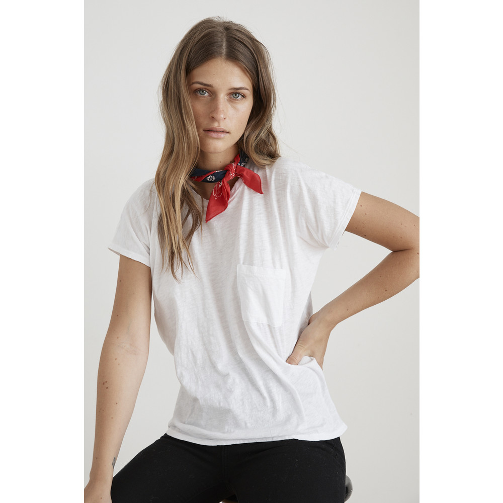 Velvet Carine Tee with Single Pocket White